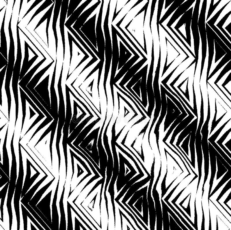 B&w tribal triangular do teste padrão ilustração do vetor