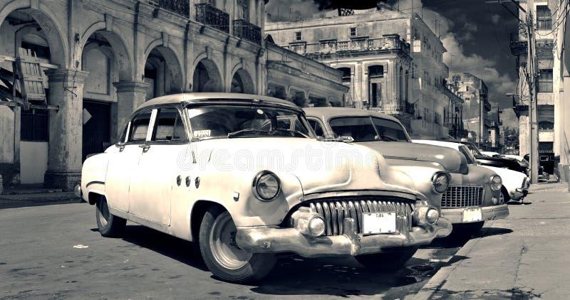 B&w velho do panorama dos carros de Havana fotografia de stock royalty free