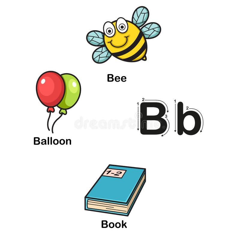 B-ape della lettera di alfabeto, pallone, illustrazione di vettore del libro illustrazione vettoriale