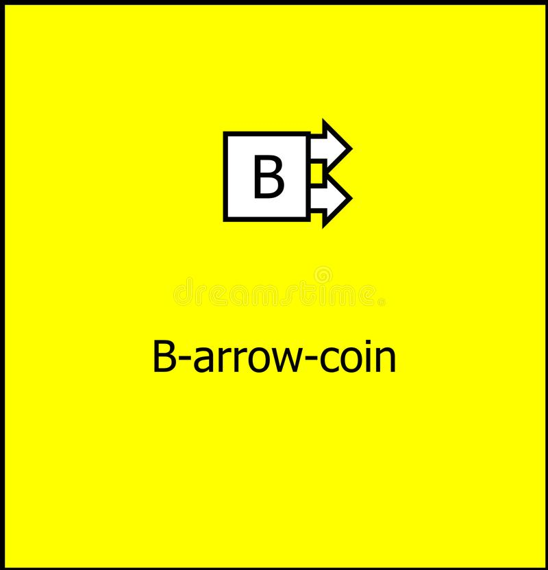 B-arrow coin cryptocurrency logo stock image