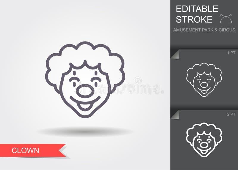 B?azen twarz Kreskowa ikona z editable uderzeniem z cieniem ilustracji