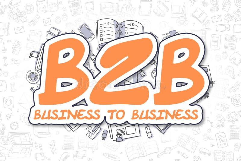 B2B - Надпись апельсина Doodle владение домашнего ключа принципиальной схемы дела золотистое достигая небо к иллюстрация штока