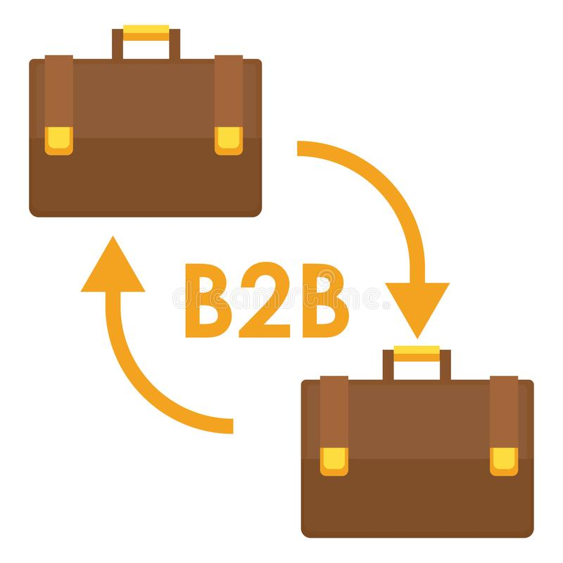 B2B banner. Two business men`s case bags vector illustration
