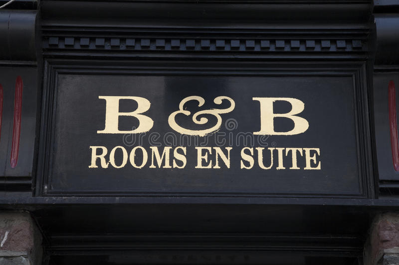 B&B Bed and Breakfast Sign royalty free stock image
