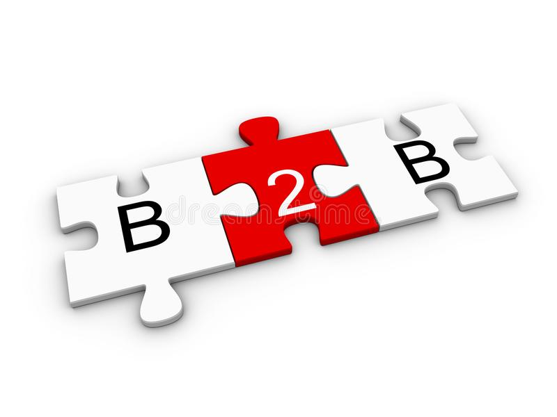B2B, business to business, concept on connected red and white jigsaw puzzle pieces. Over white background. 3D computer graphic illustration stock illustration