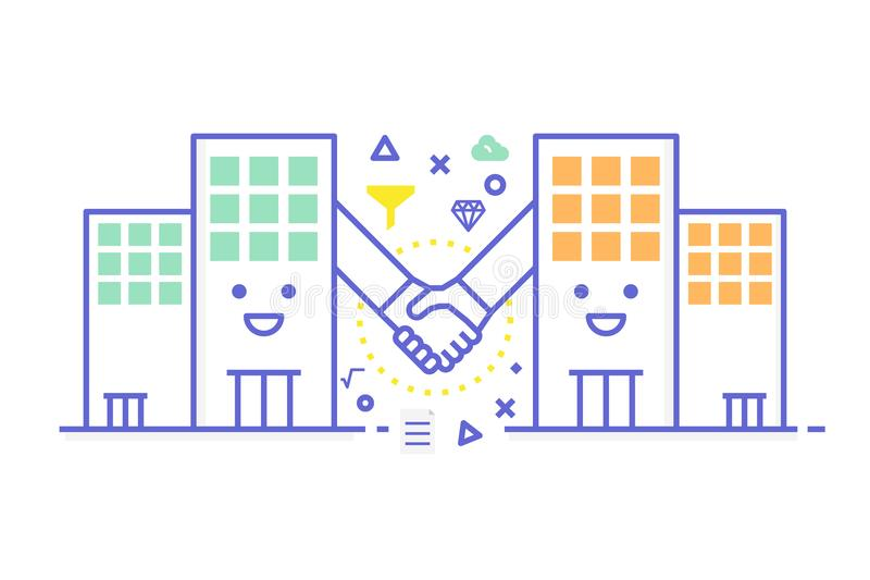 B2B - business to business illustration. B2B - business to business concept illustration, cute two building do handshaking for business agreement stock illustration