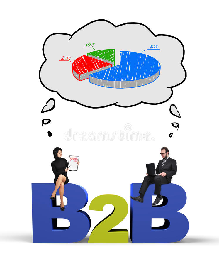 B2b and chart. Businessman and businesswoman thinking at business pie chart vector illustration