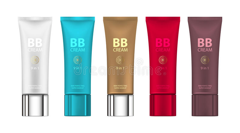 B B crema nel colore differente dei pacchetti Vector l'illustrazione dei pacchetti realistici dei tubi del fondamento di trucco illustrazione di stock