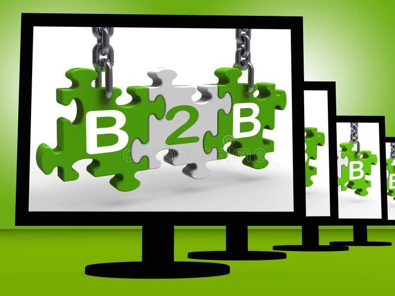 B2B en los monitores que muestran comercio electrónico libre illustration