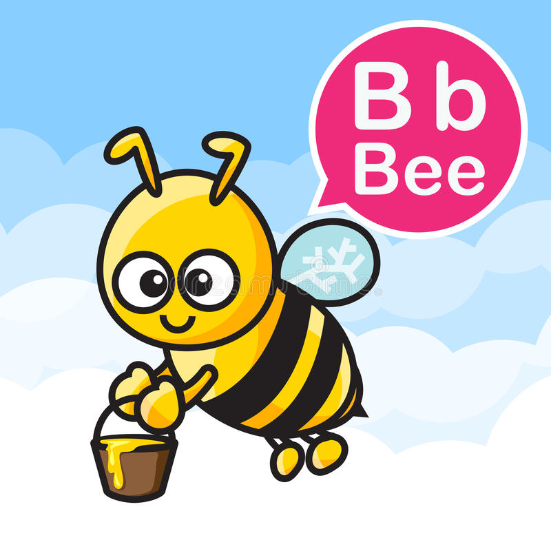B Bee cartoon color and alphabet for children to learning vector vector illustration