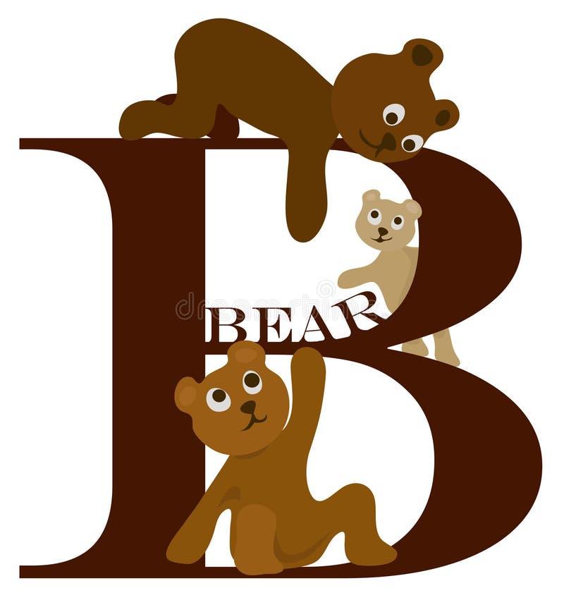 b-björnbokstav stock illustrationer