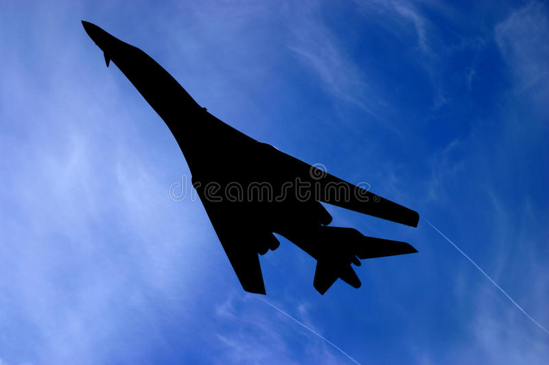 B 1 bomber silhouette royalty free stock photography