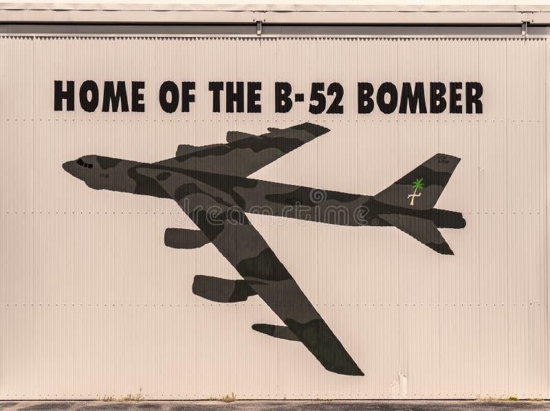B52 bombowiec wizerunek na hangarze Australijski lotnictwa dziedzictwa Centre, Darwin obraz royalty free