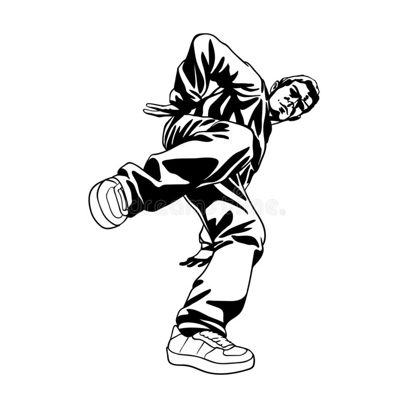 Boy dancing hip hop. B-boy dancer character in dynamic pose. Hand drawn lineart vector illustration. Hip hop dance. Can be used for creating logo, posters stock illustration