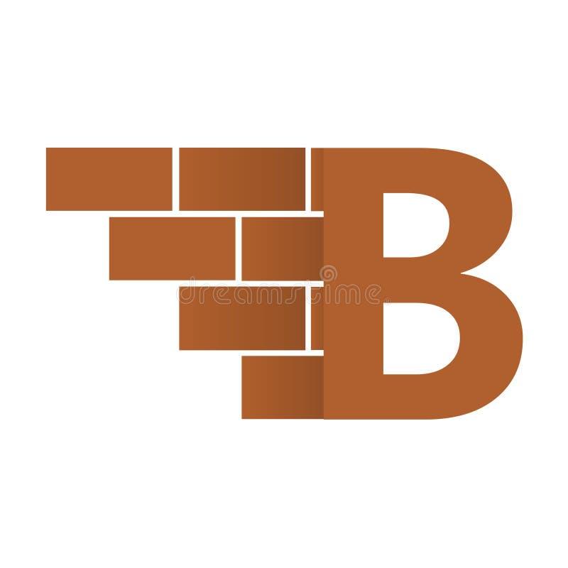 B brievenembleem, het ontwerp van het bakstenen muurembleem met plaats voor uw gegevens stock illustratie