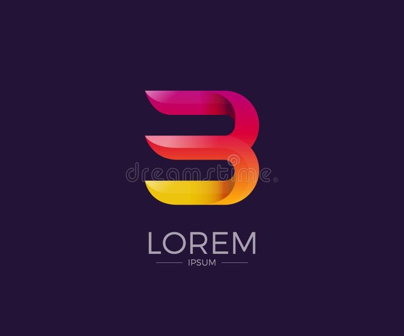 B-Buchstabe Alphabetlogo Firmenzeichen-Vektorschriftbild der abstrakten Glanzpapierfalte buntes stockbild