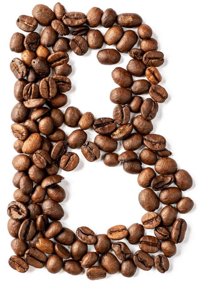 B-Buchstabe gemacht von den Kaffeebohnen lokalisiert auf weißem Hintergrund stockbilder