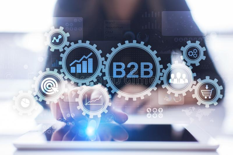 B2B Business to Business marketing strategy concept on virtual screen. stock photo
