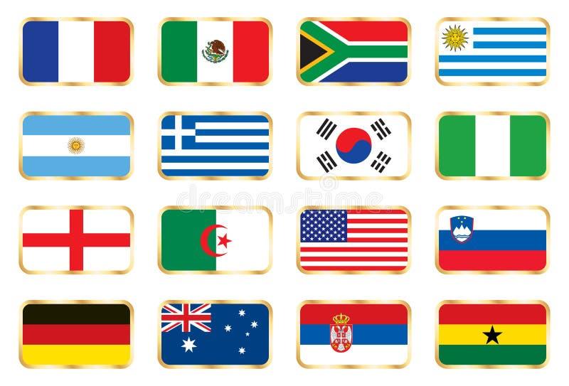 b c杯子d旗标橄榄球组设置了世界 向量例证