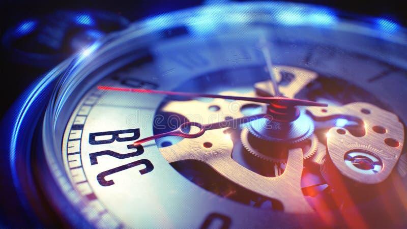 B2C - Φράση στο ρολόι τσεπών τρισδιάστατος δώστε στοκ εικόνες