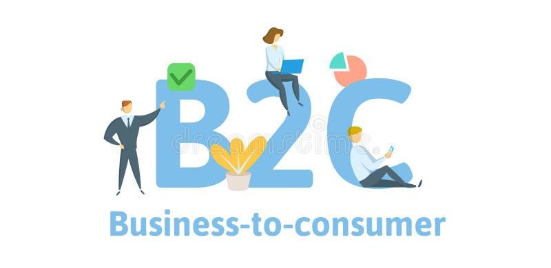 B2C, дело к потребителю Концепция с ключевыми словами, письмами, и значками Плоская иллюстрация вектора Изолировано на белизне иллюстрация вектора