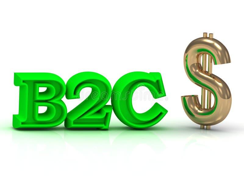 B2C и золотые ключевые слова знака дела доллара бесплатная иллюстрация