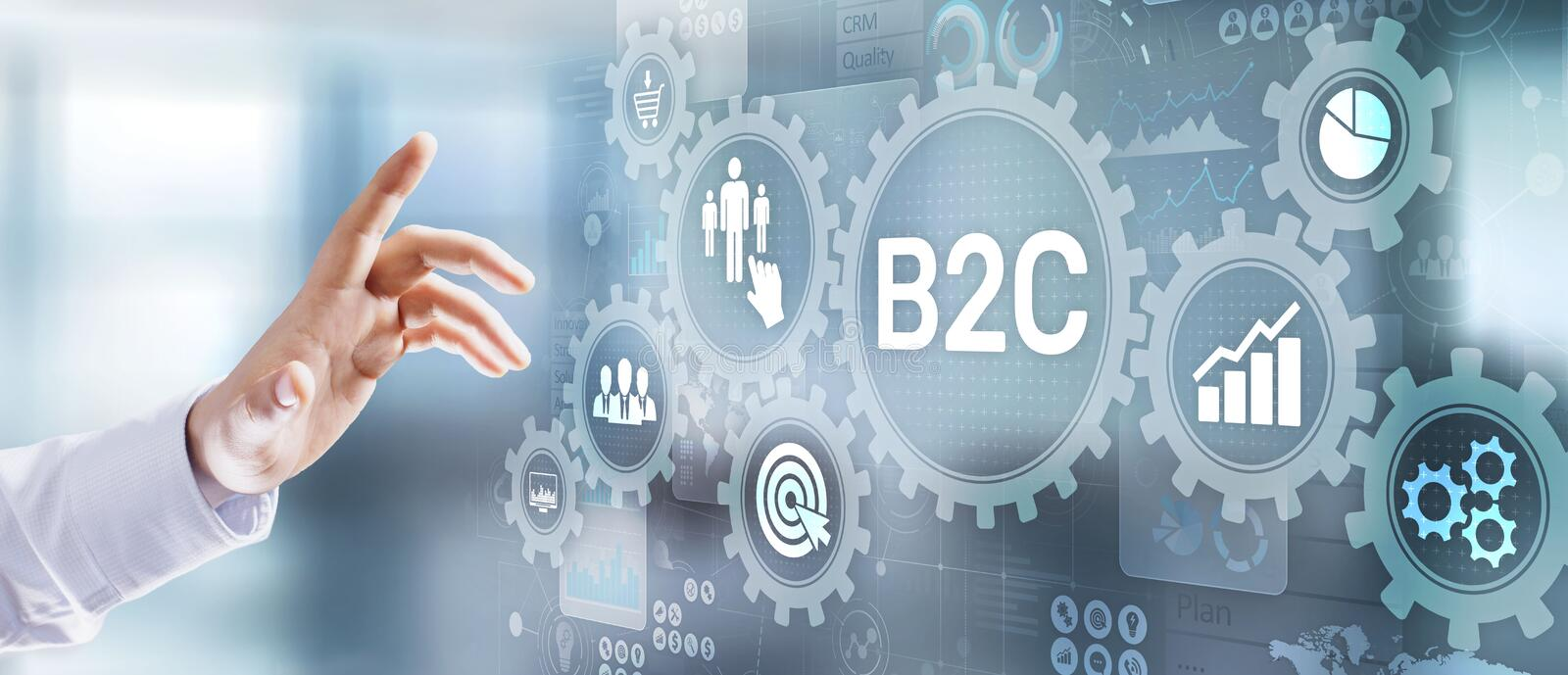 B2C Business to customer marketing strategy businessman pressing button on virtual screen. B2C Business to customer marketing strategy businessman pressing stock photography