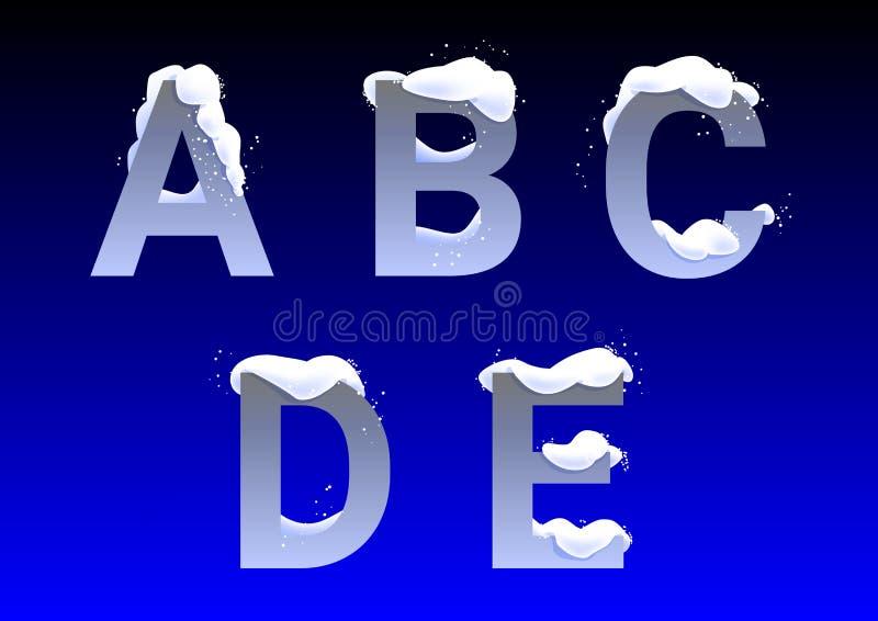 A, B, C, D, letras de E com tampões da neve ilustração royalty free