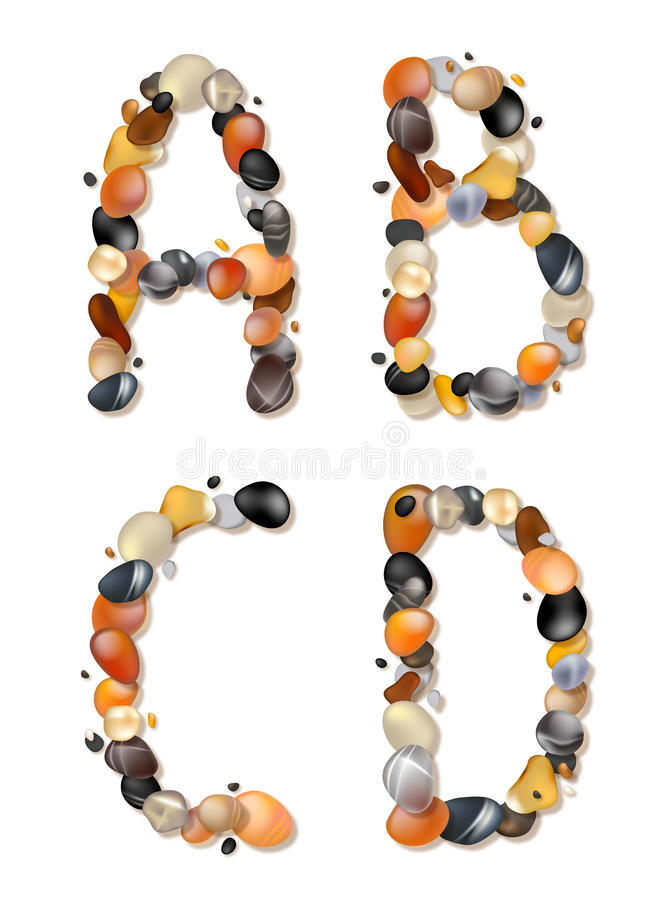 A,B,C,D. Letters of pebbles vector illustration