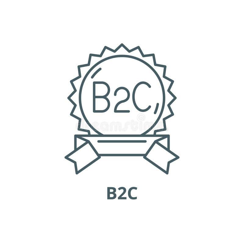 B2c-linje symbol, vektor B2c-översiktstecken, begreppssymbol, plan illustration vektor illustrationer