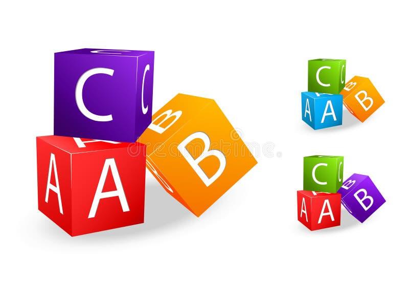 b c skära i tärningar bokstavstoyen vektor illustrationer