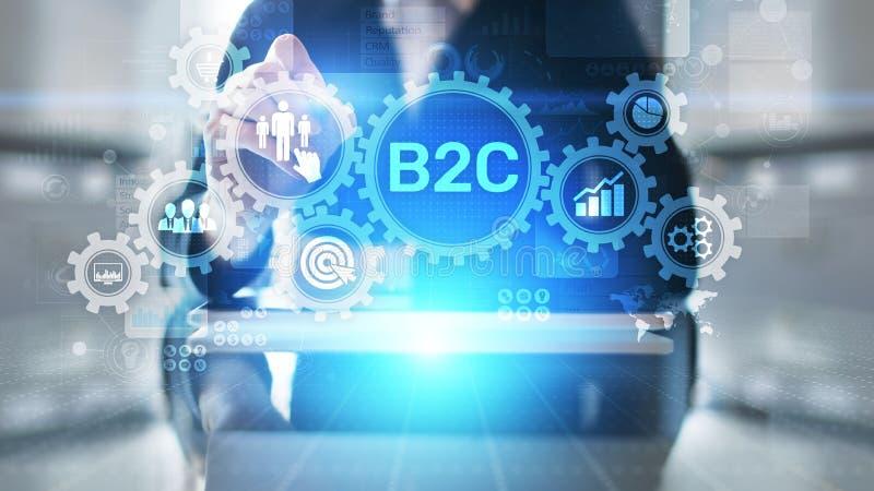 B2C-Zaken aan klantenconcept op het virtuele scherm stock afbeelding
