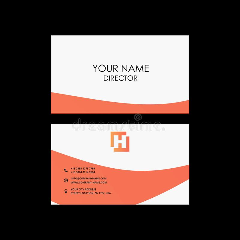 Professional modern color business card, invitation card design. stock illustration