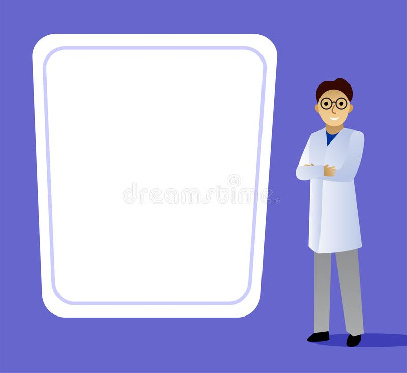 Doctor in a white coat stands at the banner. stock image