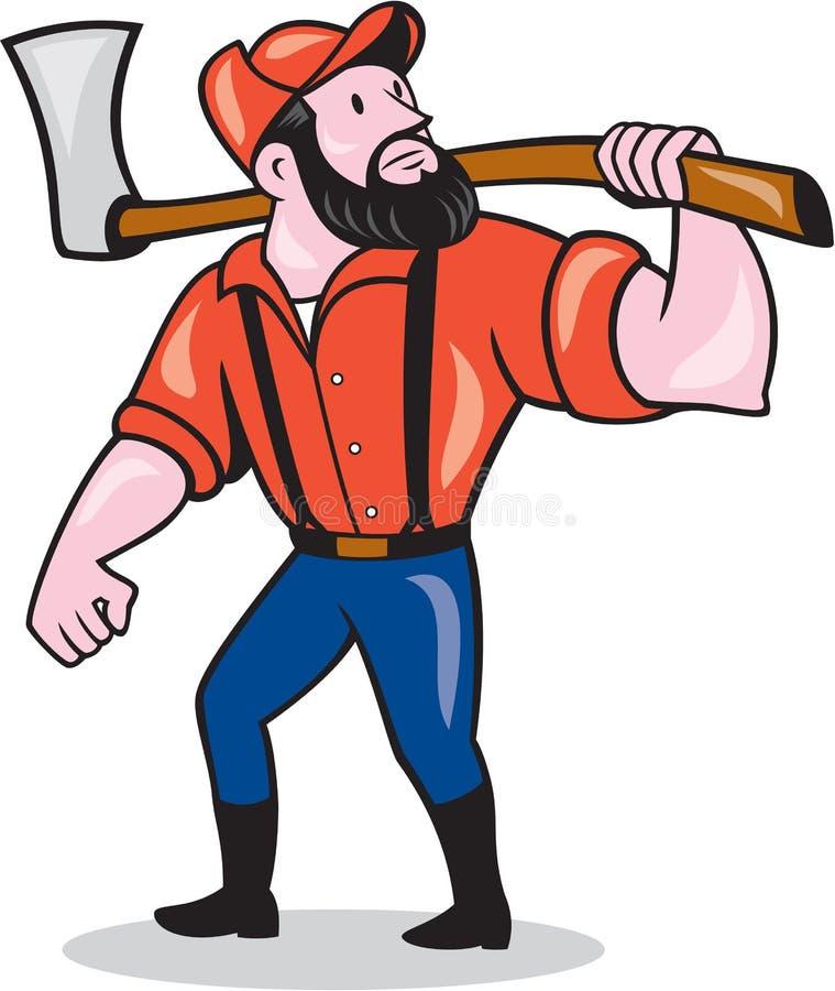Bûcheron Holding Axe Cartoon illustration libre de droits