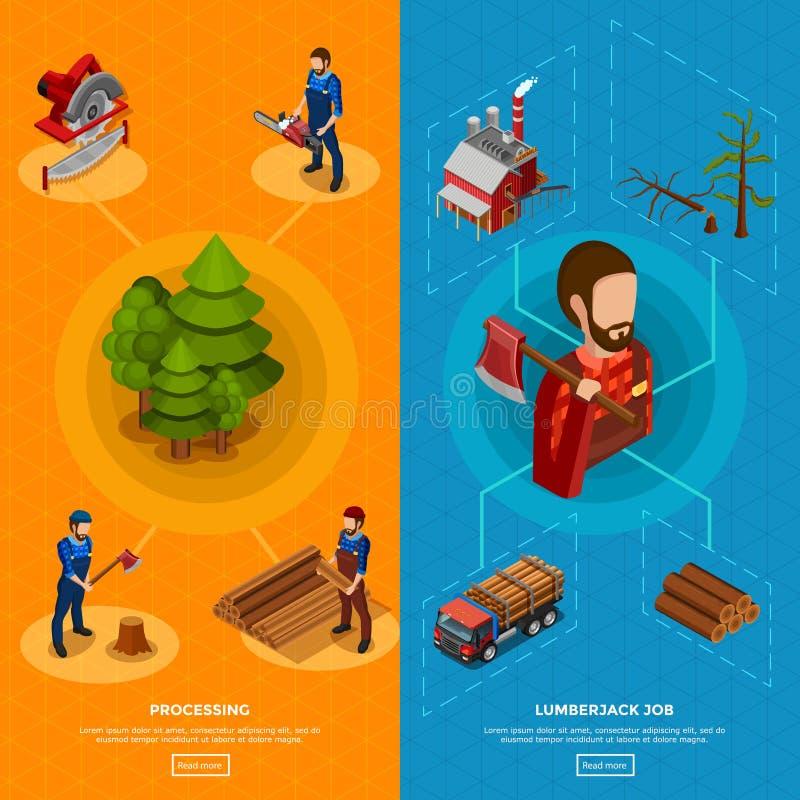 Bûcheron Isometric Vertical Banners illustration stock