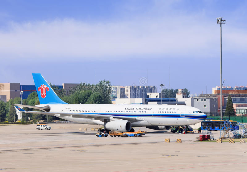 B-6058 China Southern Airlines Airbus A330-243 parked at Beijing Capital International Airport. stock photography