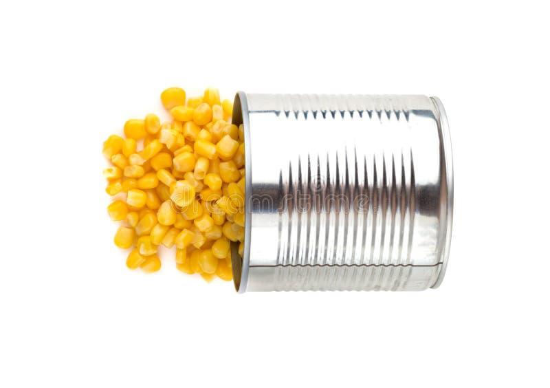 In B?chsen konservierter Mais auf einem wei?en Hintergrund stockbild