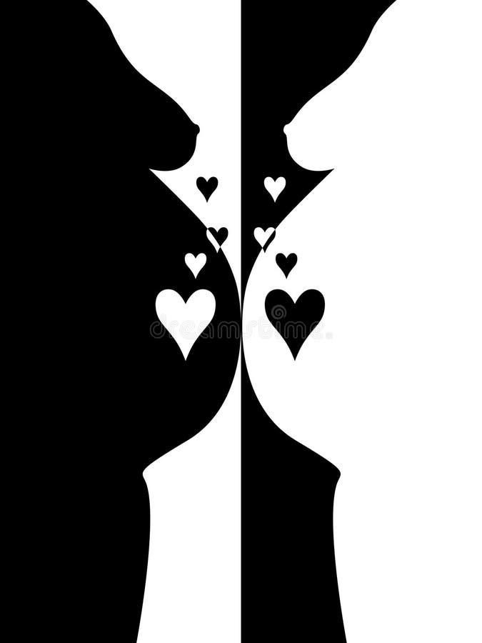 b colors den gravida w-kvinnan för hjärta stock illustrationer