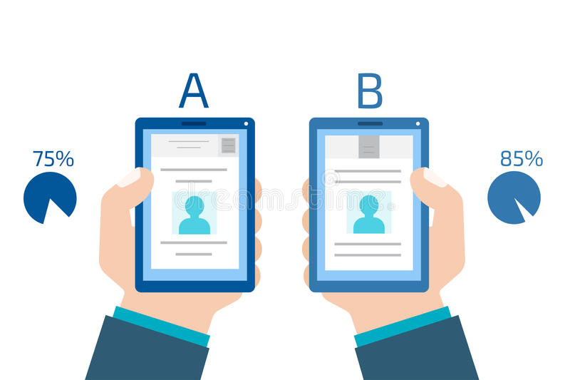 A-B comparison. Split testing. Concept computer vector illustrat vector illustration