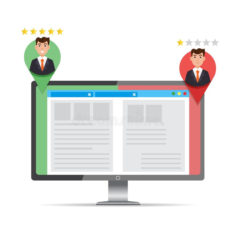 A-B comparison. Split testing. Concept with computer stock illustration