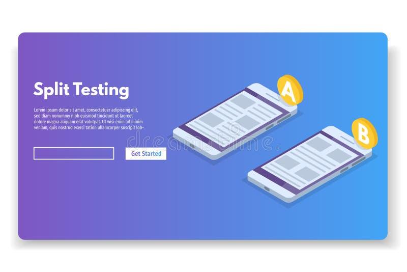 A-B comparison. Split testing isometric concept. royalty free illustration