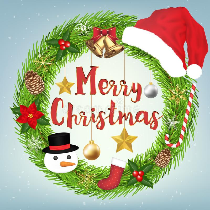 Decoration Merry Christmas Wreath Circle with christmas object around stock photos