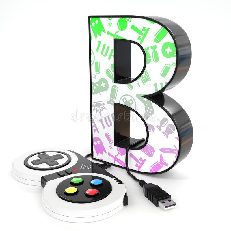 `B` 3d letter with video game controller. Green and purple video game icons painted over `B` 3d letter with video game controller royalty free illustration