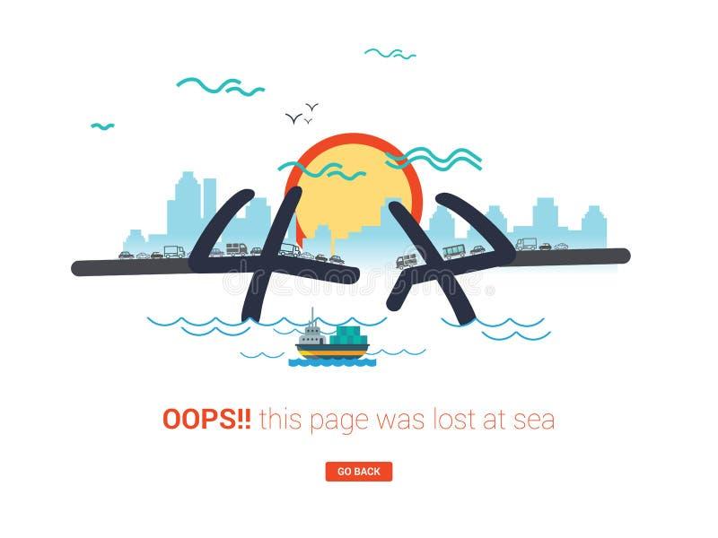 404 b??d?w strony poj?cie lub kartoteka znajduj?cy na laptopu ekranie Nowo?ytna mieszkanie stylu ilustracja ilustracji