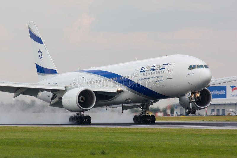 B777 El Al Israsel. PRAGUE - JULY 10:B777 El Al lands PRG in Prague, CZE on July 10, 2010. EL AL has one of the best safety and tight security in the industry royalty free stock photography