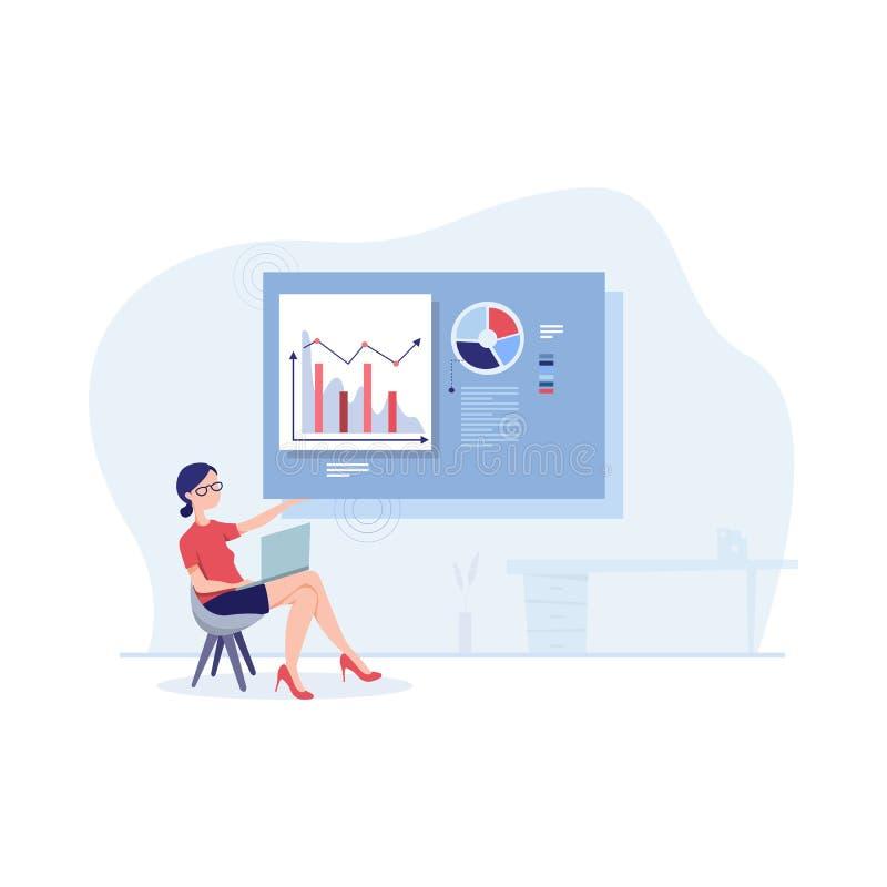 B?Företagare som övervakar analyserar rapportdiagram och investeringsplan royaltyfri illustrationer