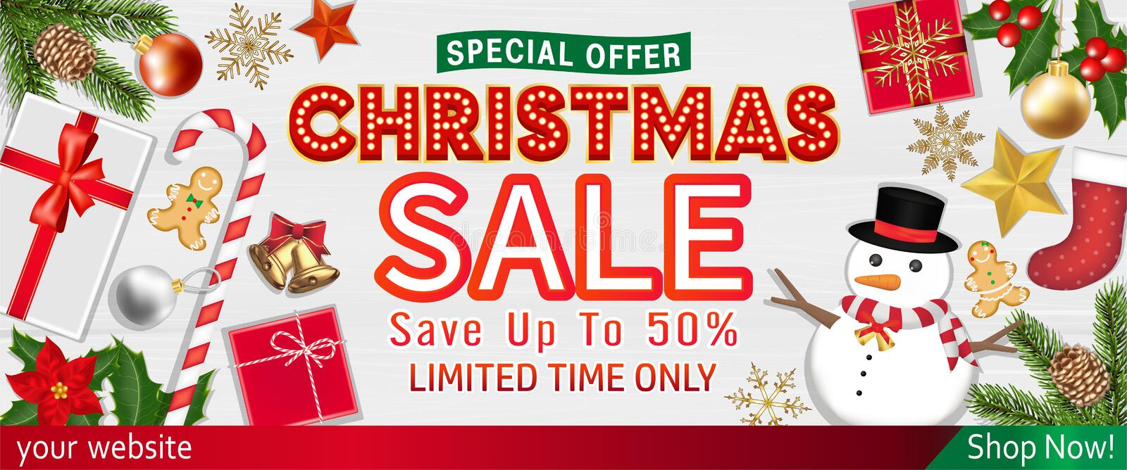 Merry Chrismast sale with Object Top View poster. A Merry Chrismast sale with Object Top View poster vector illustration