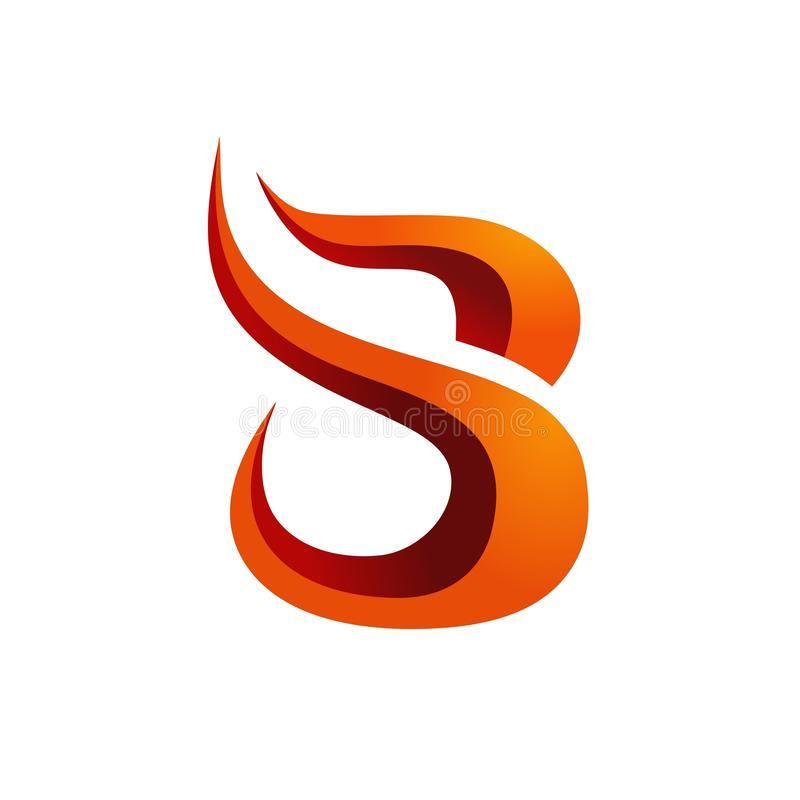 B fire logo modern simple 3d stock illustration