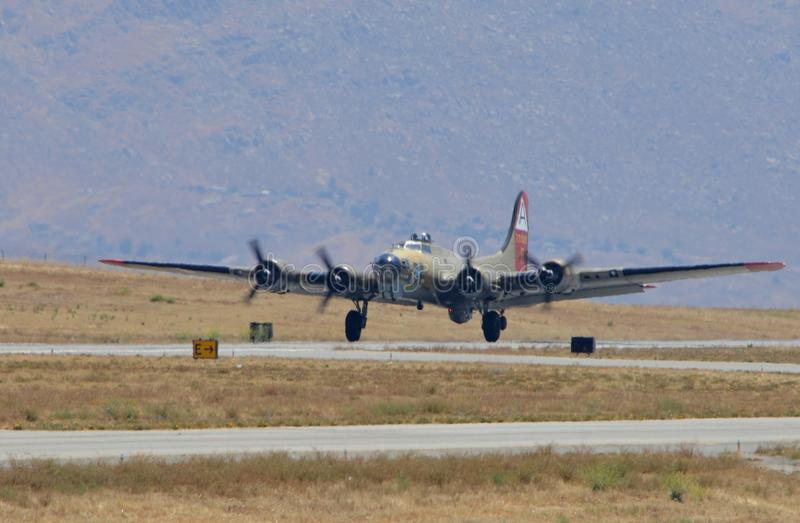 B-17 Flying Fortress coming in for landing stock photo